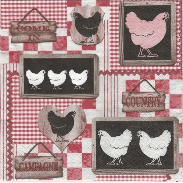 4 Serviettes en papier Cuisine Poules Format Lunch Decoupage Decopatch SDL-078700 PAW - Photo n°1