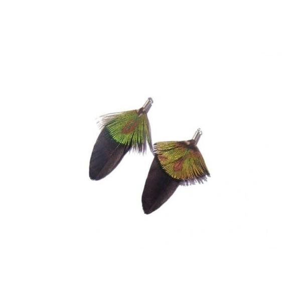 Paon et Oie teintée : Paire de pendentifs 51 MM de hauteur environ - Photo n°1