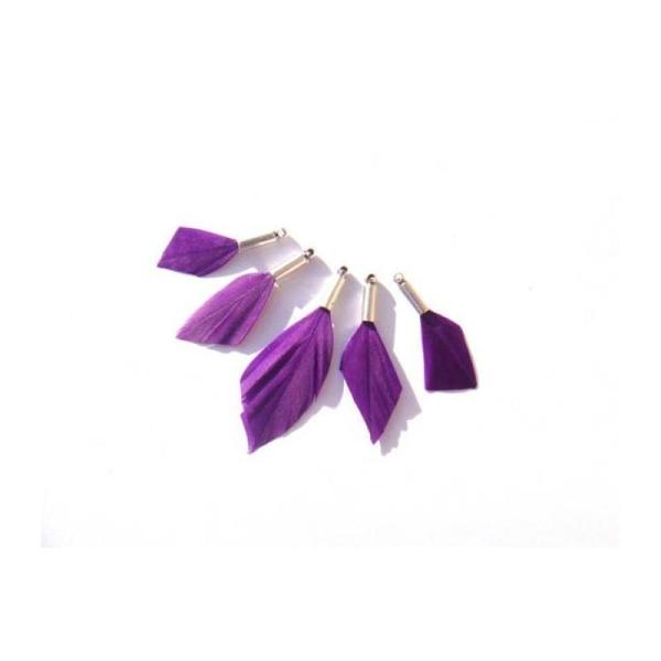 Oie teintée Violet : 5 MICRO Pendentifs 25/33 MM de hauteur - Photo n°1