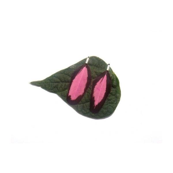 Wyandotte teintée Rose : Paire de pendentifs 47 MM de hauteur - Photo n°1
