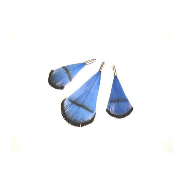 Faisan teinté Bleu foncé : 3 Pendentifs 36/50 MM environ de hauteur - Photo n°1