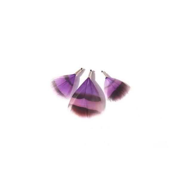 Perdrix teintée Violet : 3 Petits pendentifs 27 à 39 MM de hauteur - Photo n°1