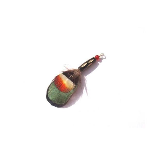 Faisan et Agate sur tube Os gravé : Pendentif 6,5 CM de hauteur - Photo n°1