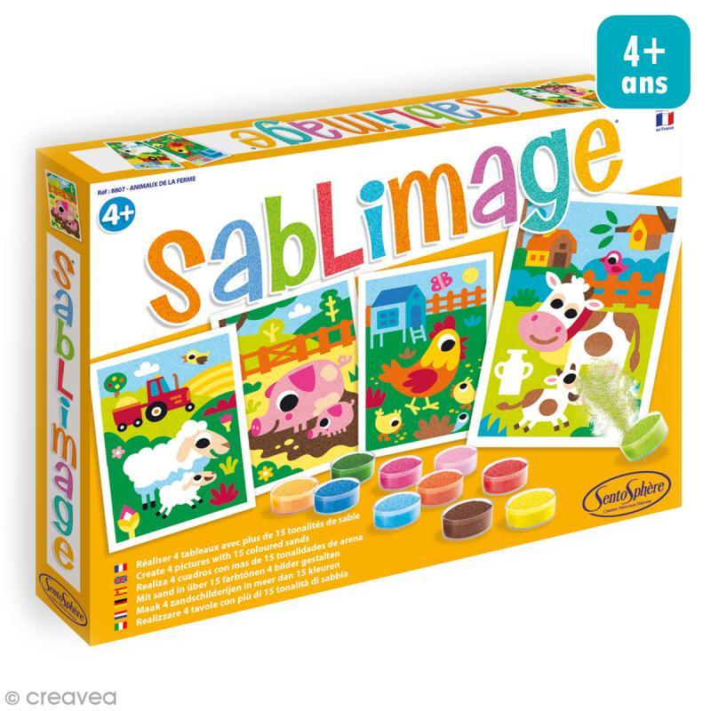 Kit Sablimage - Animaux de la ferme - 4 tableaux - Photo n°1