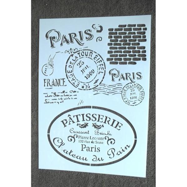 POCHOIR format A4 plastique en VINYLE commerce et poste du vieux Paris - Photo n°1