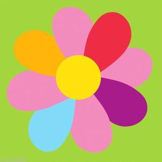 Kit canevas DMC Enfant -  La Fleur multicolore - 15 x 15 cm