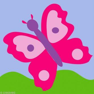 Kit canevas DMC Enfant -  Le Papillon rose - 15 x 15 cm