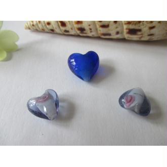 Lot de 3 perles de murano coeur bleu