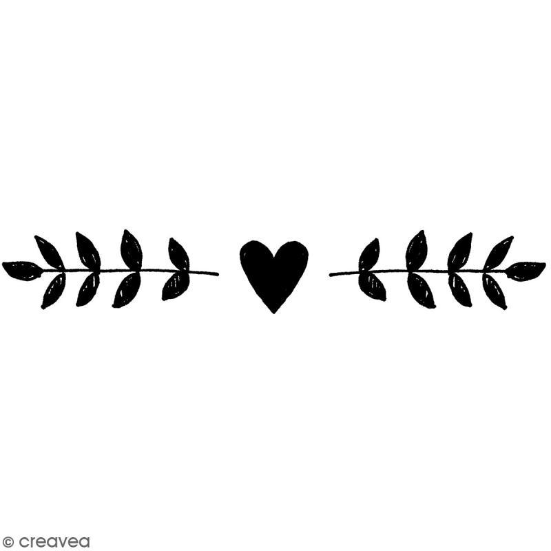 Tampon Bois Artemio - Frise de coeurs - 2,5 x 7,5 cm - Photo n°1