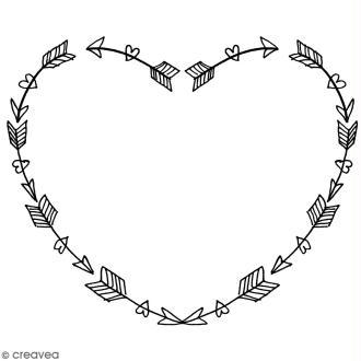 Tampon Bois Artemio - Coeur en flèches - 4,5 x 5,5 cm