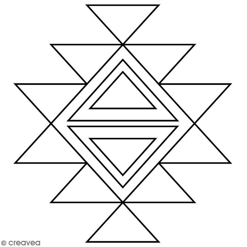 Tampon Bois Artemio - Motif Aztèque géométrique - 4,5 x 4,5 cm - Photo n°1