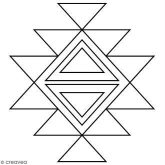 Tampon Bois Artemio - Motif Aztèque géométrique - 4,5 x 4,5 cm