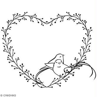 Tampon Bois Artemio - Coeur et oiseaux - 5 x 6 cm
