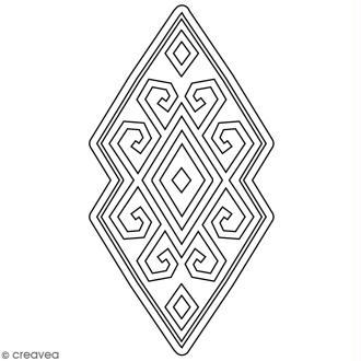 Tampon Bois Artemio - Motif Aztèque losange - 4,5 x 7 cm