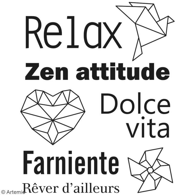 Tampon clear Artemio - Relax origami - 8 pcs - Photo n°2