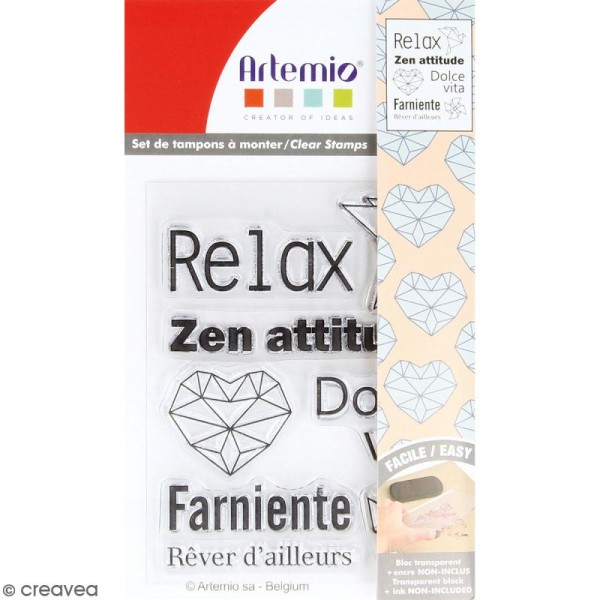 Tampon clear Artemio - Relax origami - 8 pcs - Photo n°1