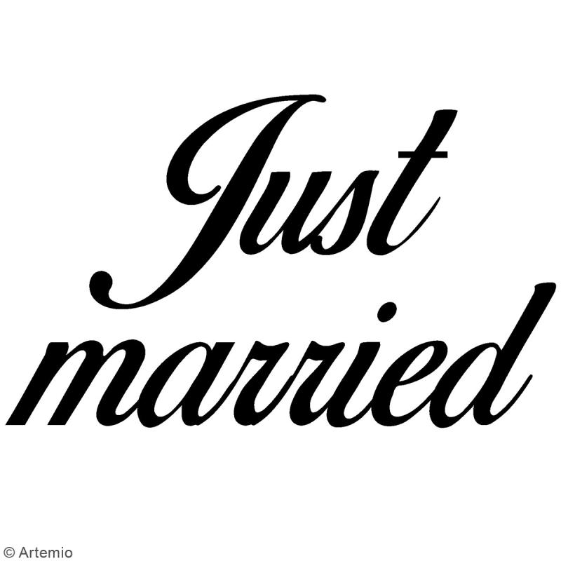 Tampon clear Artemio avec bloc de positionnement - Just married - Photo n°2