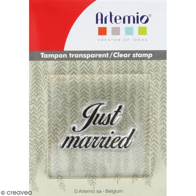 Tampon clear Artemio avec bloc de positionnement - Just married - Photo n°1