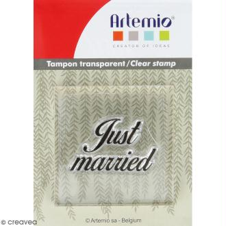 Tampon clear Artemio avec bloc de positionnement - Just married