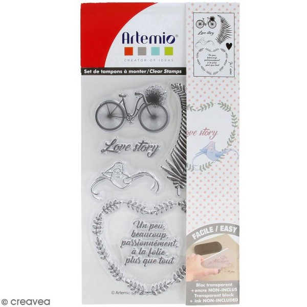 Tampon clear Artemio - Love story - 8 pcs - Photo n°1