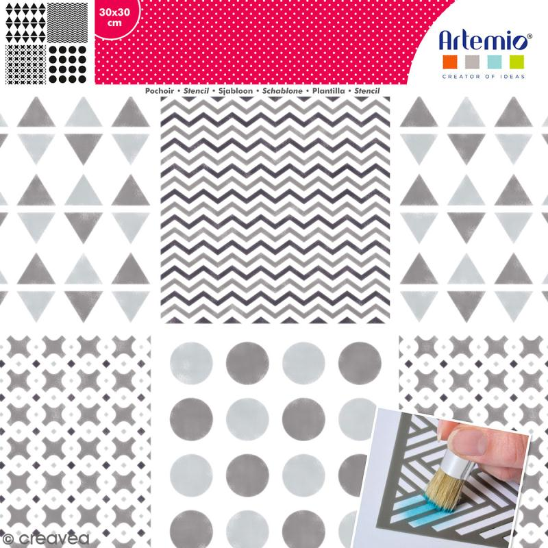 Pochoir géométrique Artemio - Carreaux ronds et chevrons - 30 x 30 cm - Photo n°1