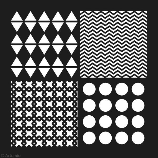 Pochoir géométrique Artemio - Carreaux ronds et chevrons - 30 x 30 cm - Photo n°2