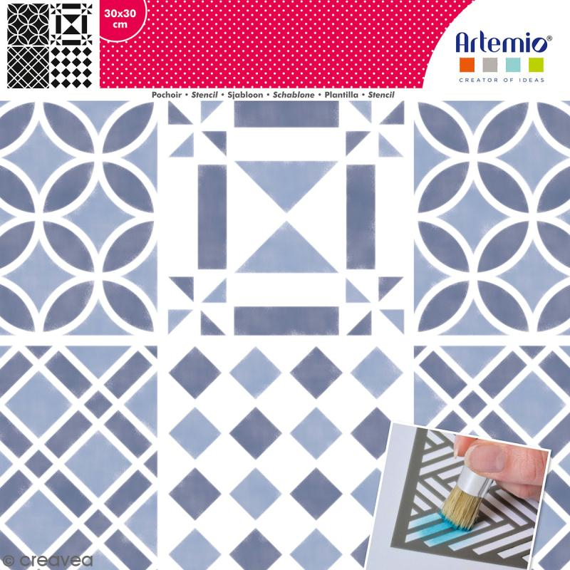 Pochoir géométrique Artemio - Carreaux damier - 30 x 30 cm - Photo n°1
