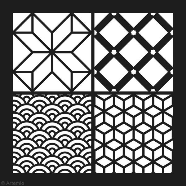 Pochoir géométrique Artemio - Carreaux vagues et cubes - 30 x 30 cm - Photo n°2