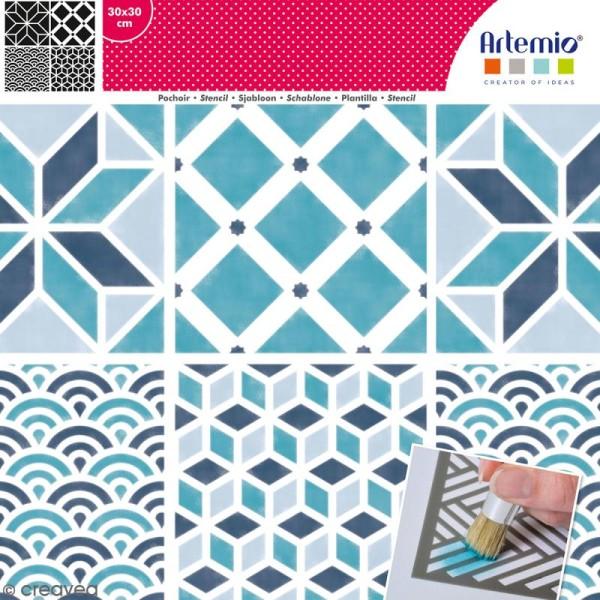 Pochoir géométrique Artemio - Carreaux vagues et cubes - 30 x 30 cm - Photo n°1