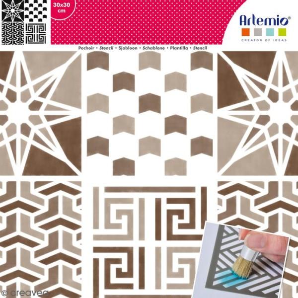 Pochoir géométrique Artemio - Carreaux chevrons et étoile - 30 x 30 cm - Photo n°1