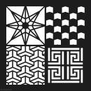 Pochoir géométrique Artemio - Carreaux chevrons et étoile - 30 x 30 cm - Photo n°2