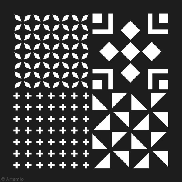 Pochoir géométrique Artemio - Carreaux croix et triangles - 30 x 30 cm - Photo n°2