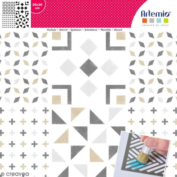 Pochoir géométrique Artemio - Carreaux croix et triangles - 30 x 30 cm - Photo n°1