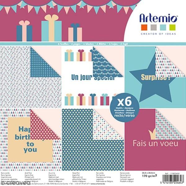 Papier scrapbooking Artemio - Anniversaire - 30,5 x 30,5 cm - 6 feuilles - Photo n°1