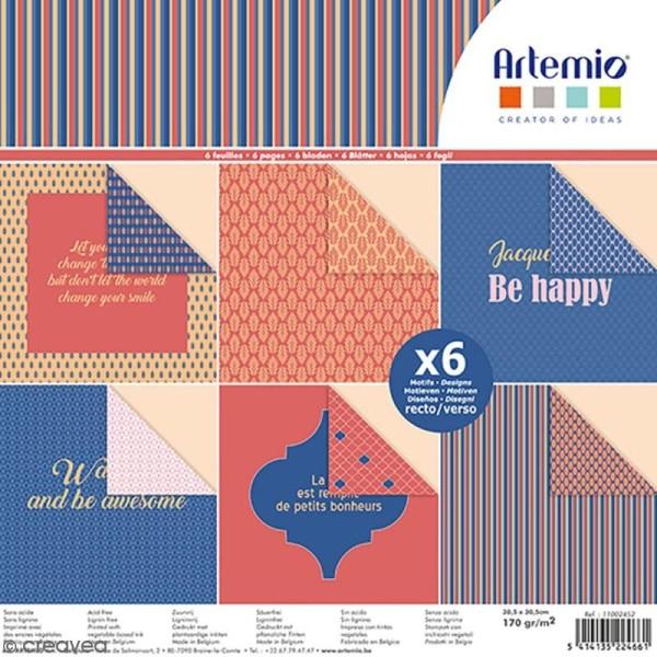 Papier scrapbooking Artemio - Bonheur - 30,5 x 30,5 cm - 6 feuilles - Photo n°1
