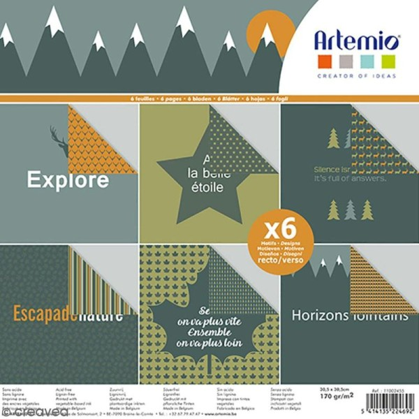 Papier scrapbooking Artemio - Nature - 30,5 x 30,5 cm - 6 feuilles - Photo n°1