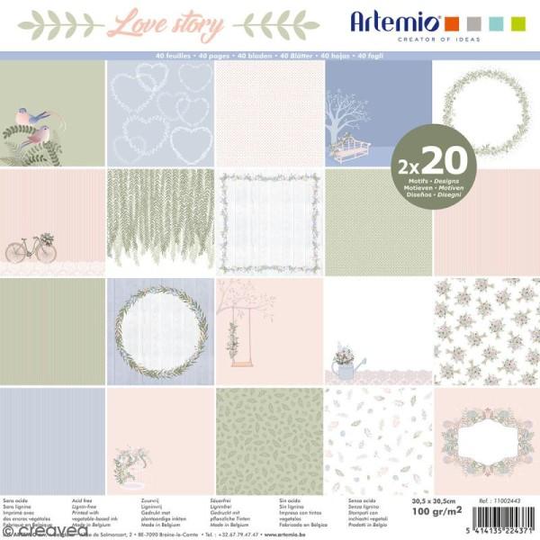 Papier Scrapbooking Artemio - Love story - 30,5 x 30,5 cm - 40 pcs - Photo n°1