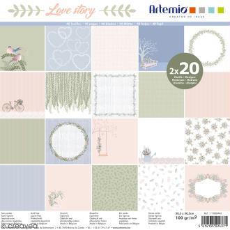 Papier Scrapbooking Artemio - Love story - 30,5 x 30,5 cm - 40 pcs