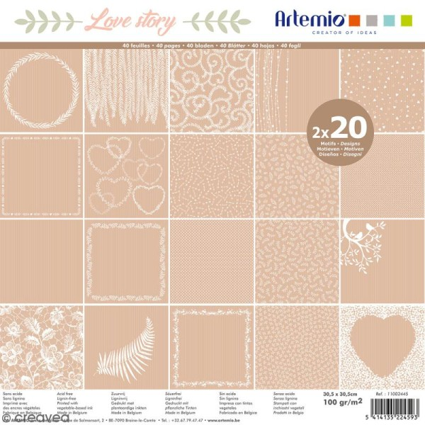 Papier Scrapbooking Artemio - Love story Kraft - 30,5 x 30,5 cm - 40 pcs - Photo n°1