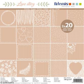 Papier Scrapbooking Artemio - Love story Kraft - 30,5 x 30,5 cm - 40 pcs