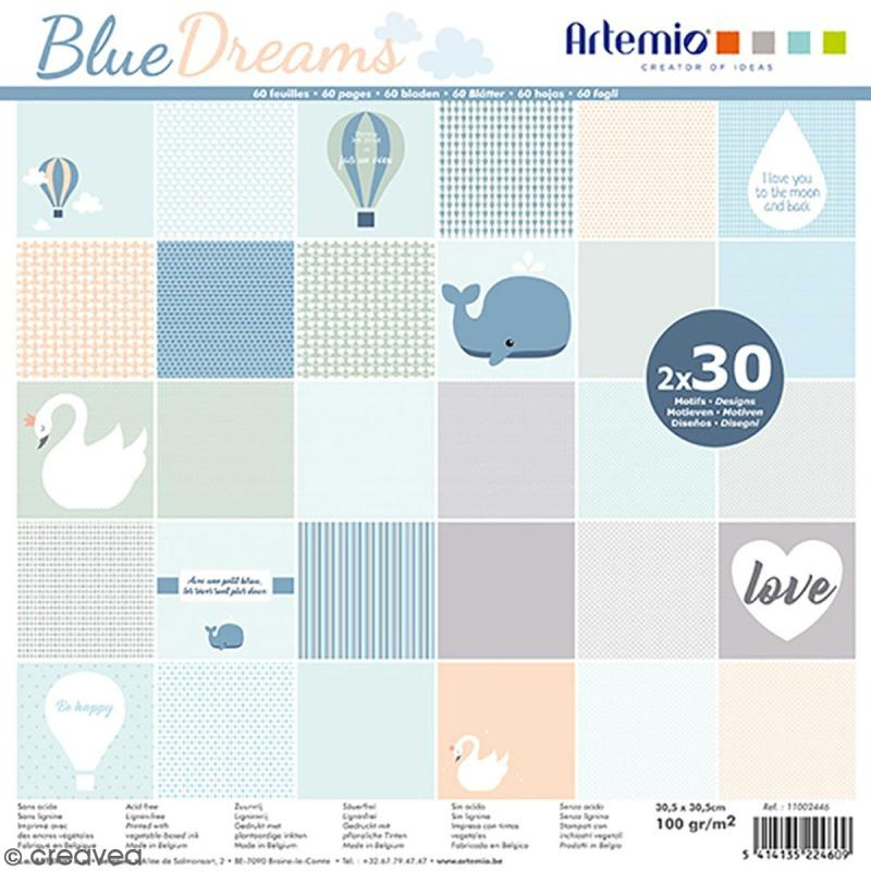 Papier Scrapbooking Artemio - Blue dreams Kraft - 30,5 x 30,5 cm - 60 pcs - Photo n°1