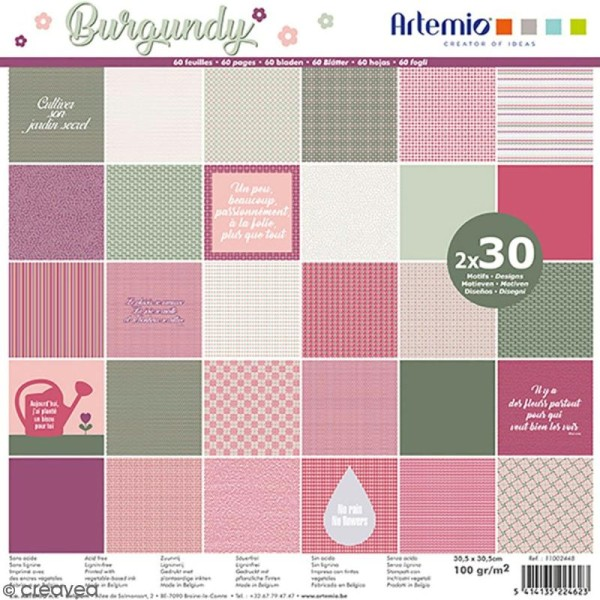 Papier Scrapbooking Artemio - Burgundy Kraft - 30,5 x 30,5 cm - 60 pcs - Photo n°1