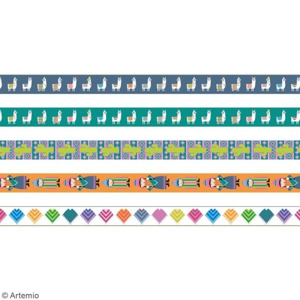 Masking Tape Artemio - Alpaga Lamas - 1,5 cm x 5 m - 5 pcs - Photo n°3