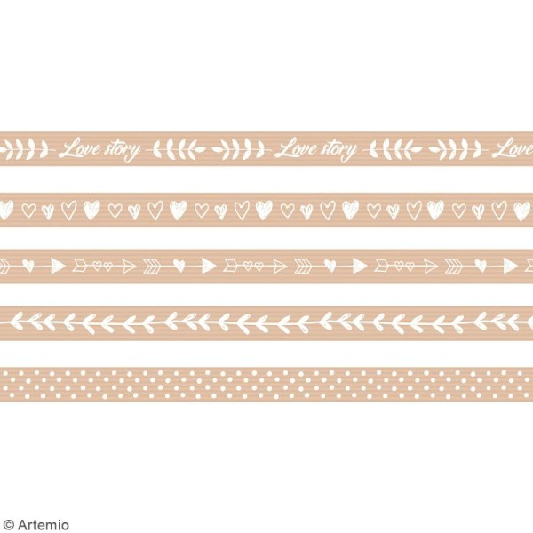 Masking Tape Artemio - Love story Kraft - 1,5 cm x 5 m - 5 pcs - Photo n°3