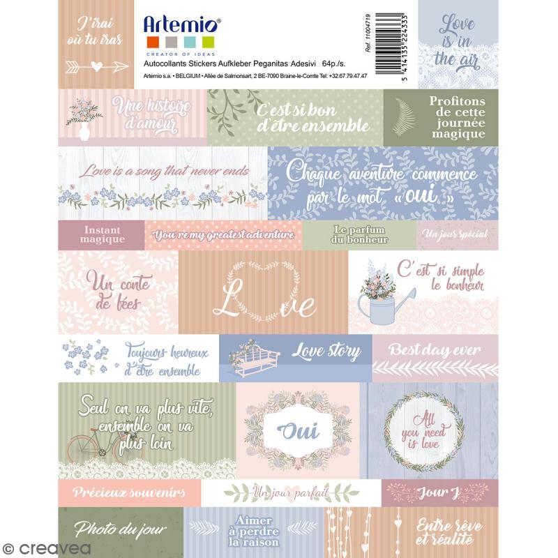 Stickers Artemio textes - Love story - 64 pcs - Photo n°1