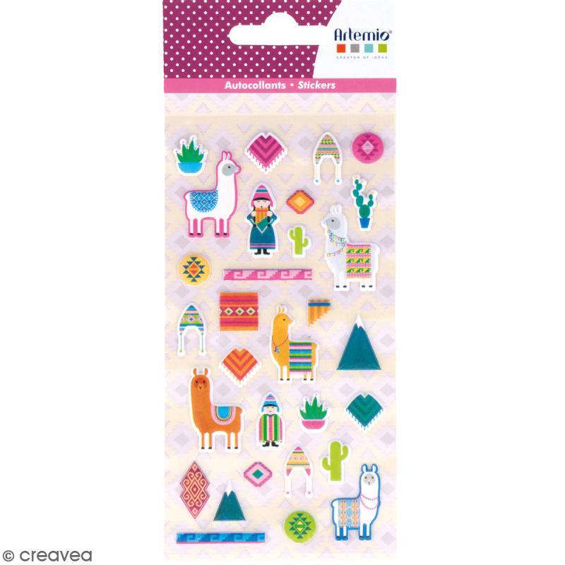 Stickers Artemio Puffies - Alpaga Family - 30 pcs - Photo n°1