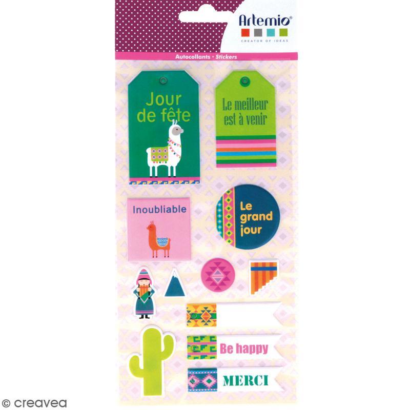 Stickers Puffies XL - Alpaga - 21 autocollants - Photo n°1