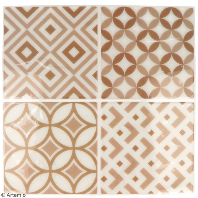 Stickers carreaux de ciment - 12,5 x 12,5 cm - Beige - 4 pcs - Photo n°2