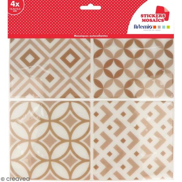 Stickers carreaux de ciment - 12,5 x 12,5 cm - Beige - 4 pcs - Photo n°1