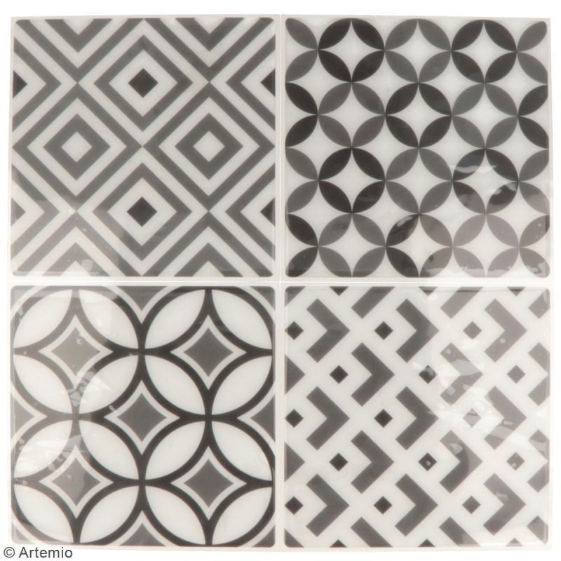 Stickers carreaux de ciment - 12,5 x 12,5 cm - Gris - 4 pcs - Photo n°2